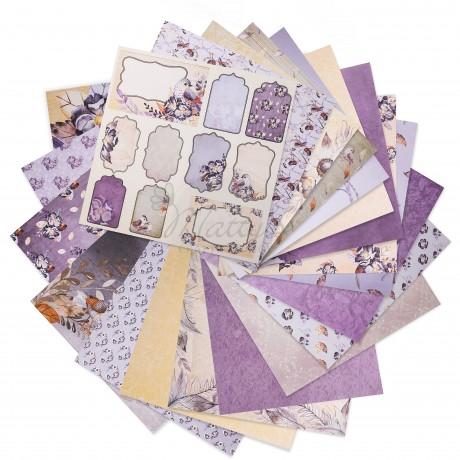 מארז קארדסטוקים סגול, מארז דפים סגול, מארז קארדסטוקים לבנדר בליס, דפים מעוצבים, סקראפבוקינג, Matty's Crafting Joy